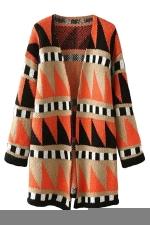 Womens V Neck Geometric Print Color Block Cardigan Sweater Coat Orange