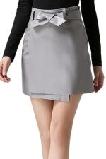 Womens Pretty Sash PU Leather Skirt Gray