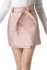 Womens Pretty Sash PU Leather Skirt Pink