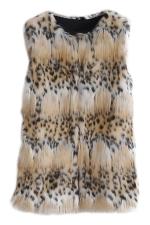 Womens Fluffy Leopard Faux Fur Vest Khaki