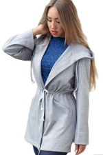 Womens Long Sleeve Plain Tie Waist Hooded Trench Coat Gray