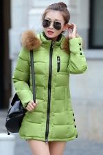 Womens Plain Fur Collar Hooded Zipper Oversized Down Jacket Green
