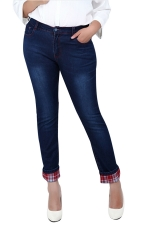 Womens Slimming Plus Size High Waist Plaid Spliced Denim Leggings Red