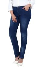 Womens Slimming Bleached Plus Size High Waist Denim Leggings Blue