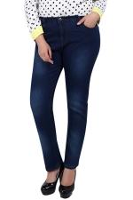Womens Slimming Bleached Plus Size High Waist Denim Leggings Navy Blue