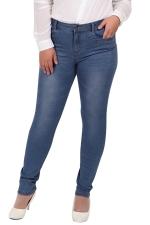 Womens Plus Size High Elastic Bleached Denim Leggings Blue