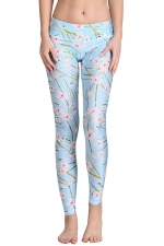 Womens Cherry Blossom Digital Print Yoga Sports Leggings Blue