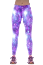 Womens Slimming Colorful Galaxy 3D Print Bright Shinny Leggings Purple