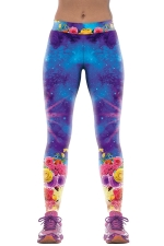 Womens Galaxy Rose Flower Print Tight Yoga Fitness Leggings Purple