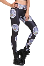 Womens Slimming Floral Print Elastic High-Waisted Leggings Black