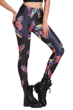 Womens Trendy Steed Print Slimming Elastic Waist Leggings Black