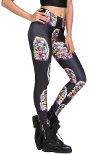 Womens Trendy Lion Head Print Elastic Waist Leggings Black