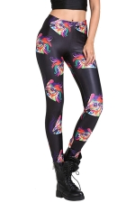 Womens Trendy Phoenix Print Slimming Elastic Waist Leggings Black