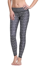 Womens Vintage Floral 3D Print Elastic Waist Tight Leggings Black