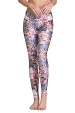 Womens Slim Cats Digital Print Elastic Waist Tight Leggings Brown