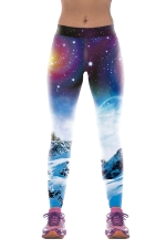 Womens Slim Galaxy 3D Digital Print Elastic Waist Tight Leggings Blue