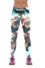 Womens Galaxy Digital Print Elastic Waist Tight Sports Leggings Blue
