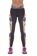 Womens Side Floral Digital Print Elastic Waist Tight Leggings Black