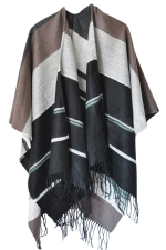 Womens Fringed Color Block Warm Shawl Scarf Gray