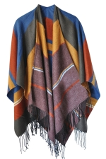 Womens Fringed Color Block Warm Shawl Scarf Orange