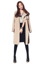 Womens Fashion Casual Lapel Long Trench Coat Khaki