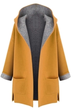 Womens Stylish Plus Size Hooded Cardigan Trench Coat Yellow