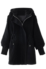Womens Plain Trumpet Sleeve Hooded Drawstring Waist Woolen Coat Black