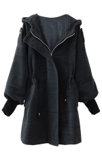 Womens Plain Trumpet Sleeve Hooded Drawstring Woolen Coat Dark Gray