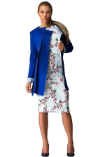 Womens Long Sleeve Collarless Medium-long Woolen Coat Sapphire Blue