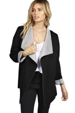 Womens Stylish Long Sleeve Turndown Collar Warm Woolen Coat Black