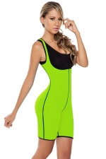 Womens Reversible Zipper Waist Training Corset Bodysuit Green