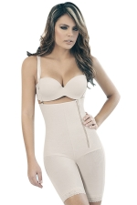 Womens Zipper Side Straps Waist Training Corset Bodysuit White