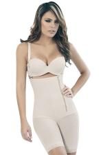 Womens Zipper Side Straps Waist Training Corset Bodysuit White