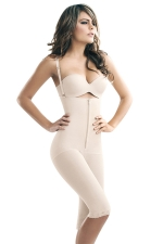 Womens Slimming Zipper Straps Waist Training Corset Bodysuit White