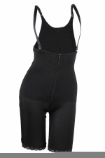 Womens Zipper Straps Butt Lifter Waist Training Corset Bodysuit Black
