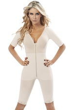 Womens V Neck Zipper Waist Training Corset Bodysuit White