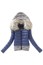 Womens Faux Fur Hooded Patchwork Short Cotton-Padded Coat Blue