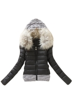 Womens Faux Fur Hooded Patchwork Short Cotton-Padded Coat Black