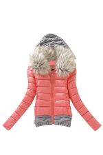 Womens Faux Fur Hooded Spliced Short Cotton-Padded Coat Watermelon Red