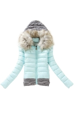 Womens Faux Fur Hooded Patchwork Short Cotton-Padded Coat Turquoise