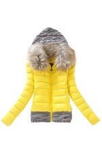 Womens Faux Fur Hooded Patchwork Short Cotton-Padded Coat Yellow