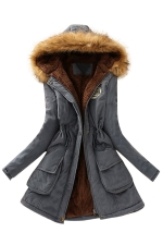 Womens Faux Fur Hooded Drawstring Thick Lined Parka Coat Gray