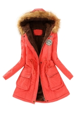 Womens Faux Fur Hooded Drawstring Thick Lined Coat Watermelon Red