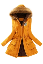 Womens Faux Fur Hooded Drawstring Thick Lined Parka Coat Yellow