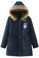 Womens Faux Fur Hooded Drawstring Thick Lined Parka Coat Navy Blue