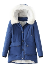 Womens Hooded Fur Collar Long Sleeve Pocket Cotton-padded Coat Blue