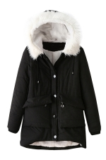 Womens Hooded Fur Collar Long Sleeve Pocket Cotton-padded Coat Black