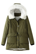 Womens Hooded Fur Collar Long Sleeve Pocket Cotton-padded Coat Green
