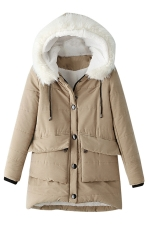 Womens Hooded Fur Collar Long Sleeve Pocket Cotton-padded Coat Khaki