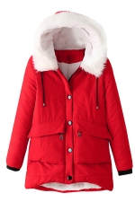 Womens Hooded Fur Collar Long Sleeve Pocket Cotton-padded Coat Red